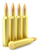 Large caliber rifle ammunition cartridges on white