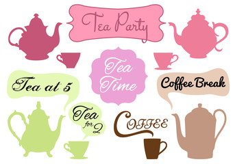 tea and coffee with word art, vector set
