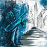 Fototapety sax player (full sized hand drawing - original)