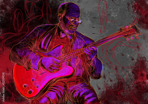 guitar player (full sized hand drawing - original)