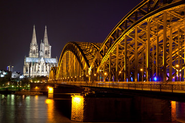 Cologne Cathedral and bridge over the Rhine river, Germany