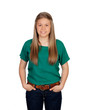 Beautiful young girl with green t-shirt