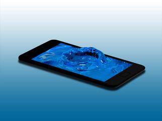 Smartphone con acqua in 3d