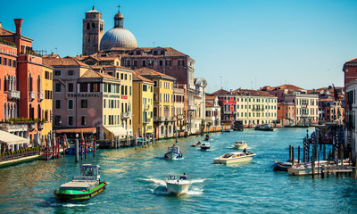 grand channel with boats in Venice, Italy