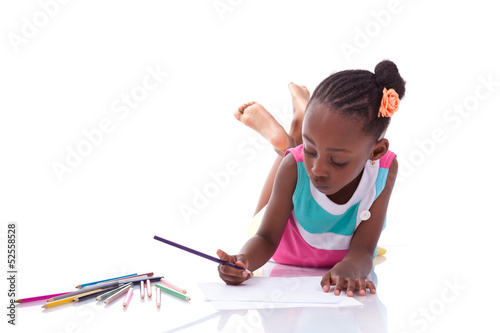 Cute black african american little girl drawing - African people