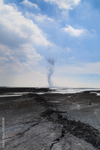 Sidoarjo mud flow blowout (Lapindo mud) in Indonesia