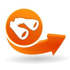 recherche, jumelles sur bouton web orange