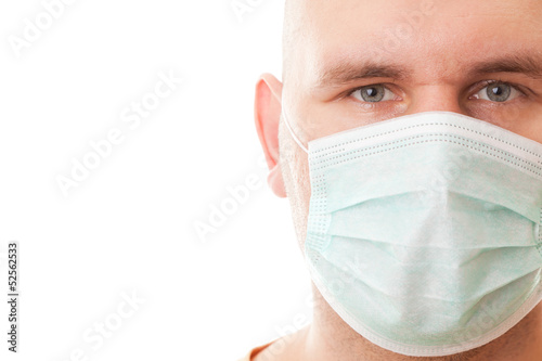 Real men in surgical mask