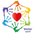 Vector conceptual hand prints and heart