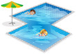 A pool with a boy and a girl swimming