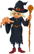 A witch holding a wooden stick