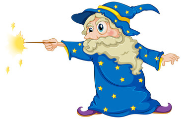 A wizard holding a magic wand