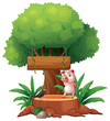 A pig and a bird above a stump in front of a wooden signboard