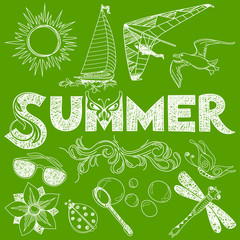 Summer in Handmade Style: Vector Elements and Sign