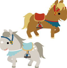 鞍を付けた2頭の馬