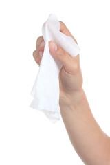 Woman hand using a washcloth