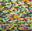 3d mosaic tile brick wall in multiple color pattern