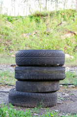 Old tires in forest