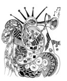 doodles art music on ocean poster