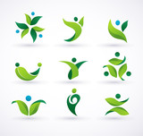 Vector green ecology people icons