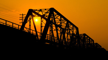 Iron bridge at sunset