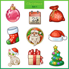 Candy cartoon icons set for Christmas and New Year