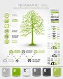 green ecological infographics with tree