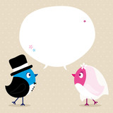 Birds Groom & Bride Speech Bubble