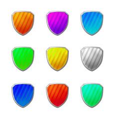 Scudi colorati 3d con riflessi luminosi