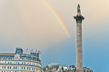 rainbow over Trafalgar Square in London