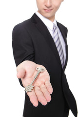 businessman holding keys