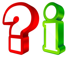 Icons Question & Information 3D Red/Green