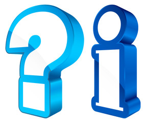 Icons Question & Information 3D Blue/White
