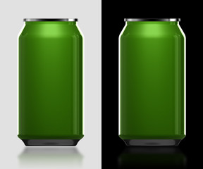 3d green can in isolated background