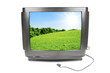 Green meadow on the old TV screen