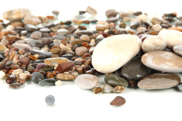 Sea stones isolated on white