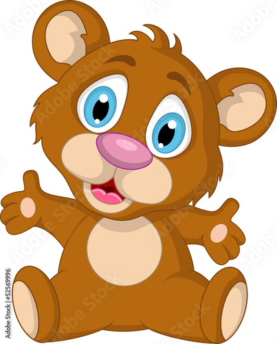 cute little brown bear cartoon expression