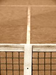 Tennisplatz mit Linie und Netz 118, old look