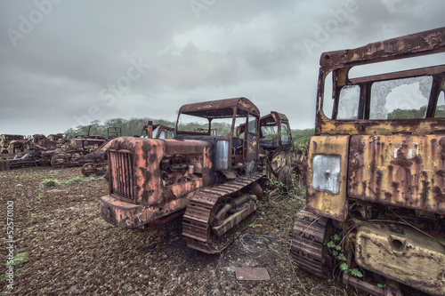 rusty old farm machinery