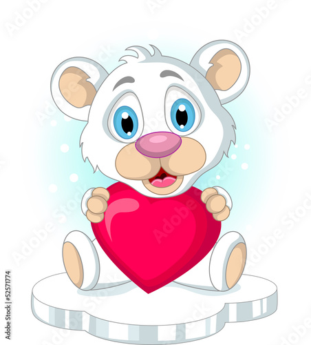 cute little polar bear holding heart love