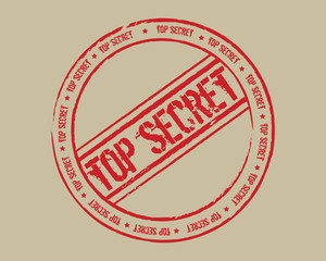 Grunge stamp top secret red
