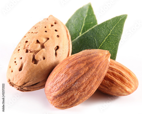 Almond nuts with leaves.