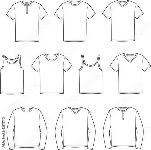 Vector illustration of men's t-shirts