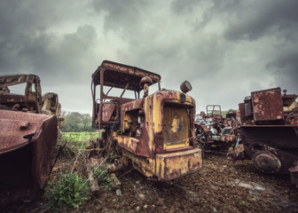 rusted farm tractor