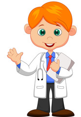 Cute little male doctor waving hand