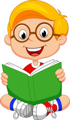 Youing boy reading book