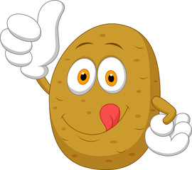 Cute potato cartoon thumb up