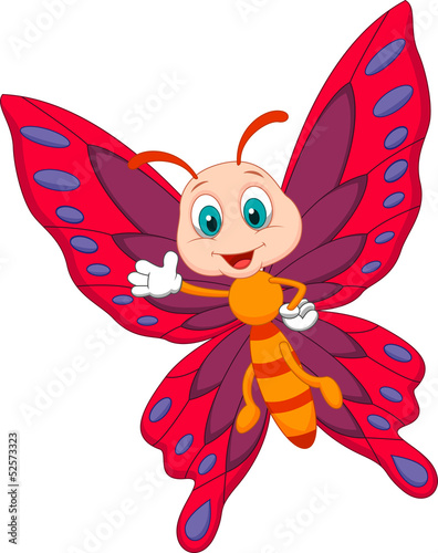 Cute butterfly cartoon waving