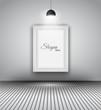 Modern interior art gallery frame design with spotlights.
