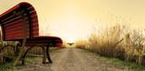 Fototapety imagen surreal de banco en el camino. Concepto de viajes